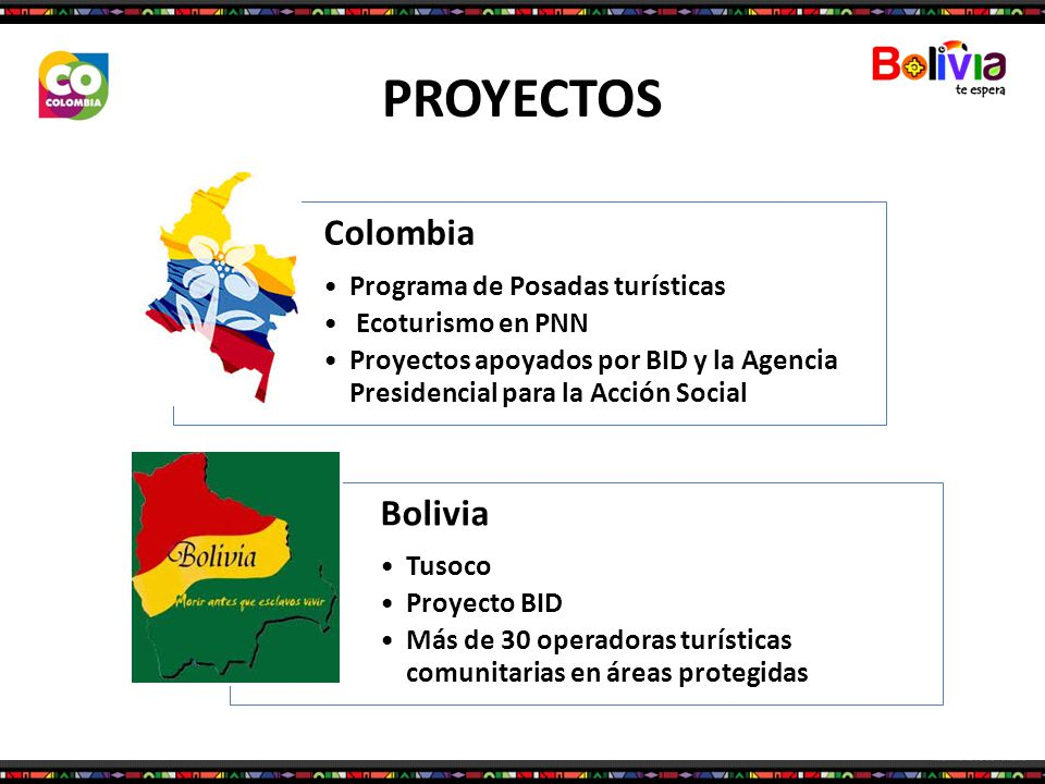 PROYECTOS Colombia Programa de Posadas turísticas Ecoturismo en PNN Proyectos apoyados por BID y la Agencia Presidencial para la Acción Social Bolivia