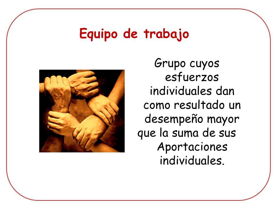 Equipo de trabajo Grupo cuyos esfuerzos individuales dan como resultado un desempeño mayor que la suma de sus Aportaciones individuales.