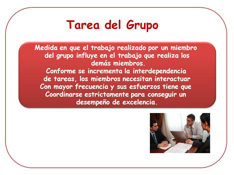 Medida en que el trabajo realizado por un miembro del grupo influye en el trabajo que realiza los demás miembros. Conforme se incrementa la interdepen
