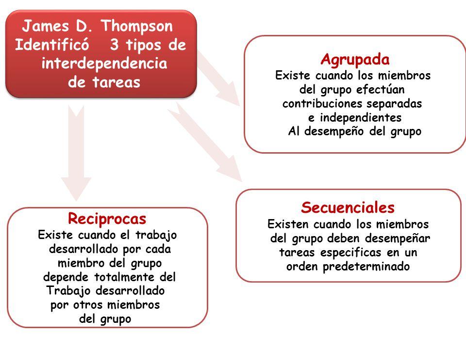 Agrupada Existe cuando los miembros del grupo efectúan contribuciones separadas e independientes Al desempeño del grupo James D. Thompson Identificó 3