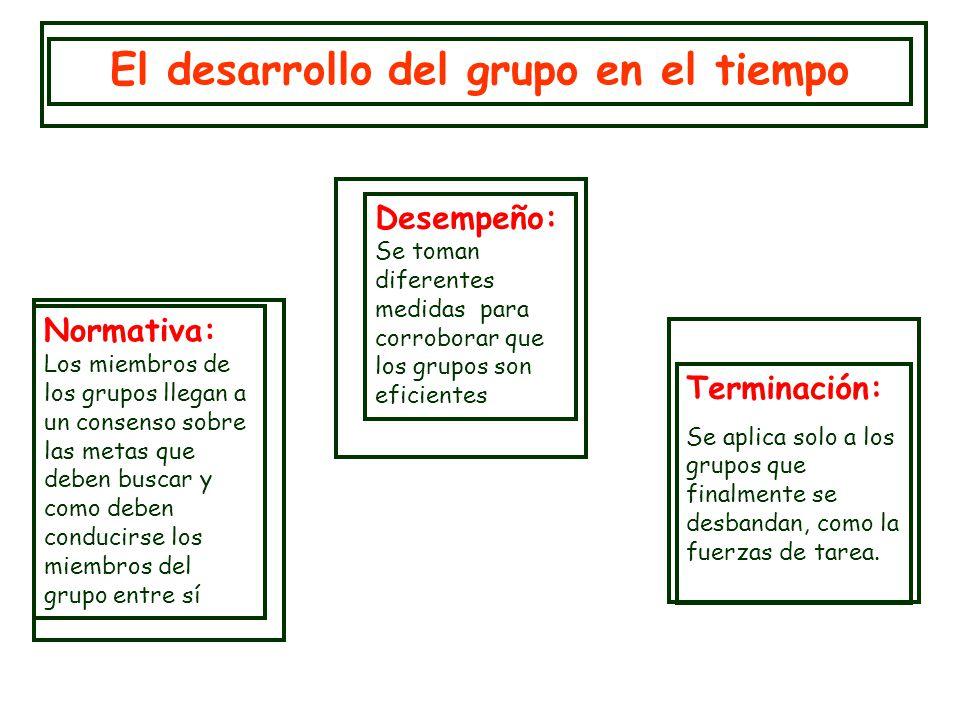 Desempeño: Se toman diferentes medidas para corroborar que los grupos son eficientes El desarrollo del grupo en el tiempo Normativa: Los miembros de l