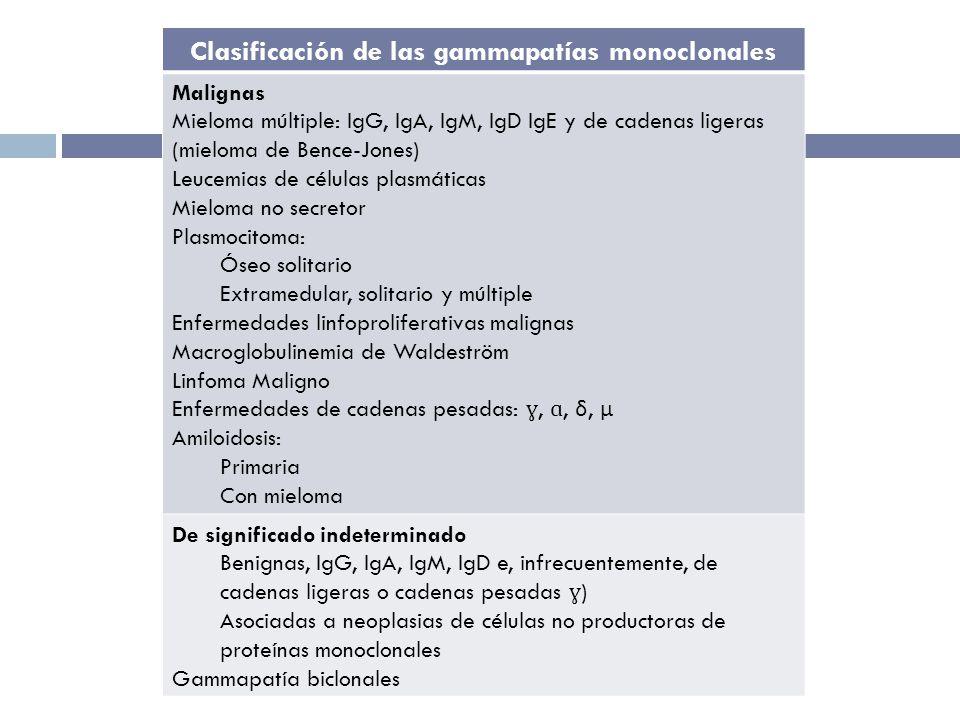 Clasificación de las gammapatías monoclonales Malignas Mieloma múltiple: IgG, IgA, IgM, IgD IgE y de cadenas ligeras (mieloma de Bence-Jones) Leucemias de células plasmáticas Mieloma no secretor Plasmocitoma: Óseo solitario Extramedular, solitario y múltiple Enfermedades linfoproliferativas malignas Macroglobulinemia de Waldeström Linfoma Maligno Enfermedades de cadenas pesadas: ɣ, ɑ, δ, μ Amiloidosis: Primaria Con mieloma De significado indeterminado Benignas, IgG, IgA, IgM, IgD e, infrecuentemente, de cadenas ligeras o cadenas pesadas ɣ ) Asociadas a neoplasias de células no productoras de proteínas monoclonales Gammapatía biclonales