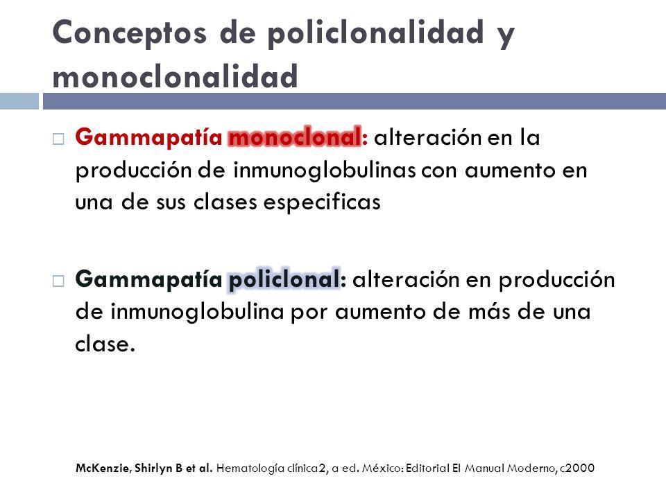 Conceptos de policlonalidad y monoclonalidad McKenzie, Shirlyn B et al. Hematología clínica2, a ed. México: Editorial El Manual Moderno, c2000