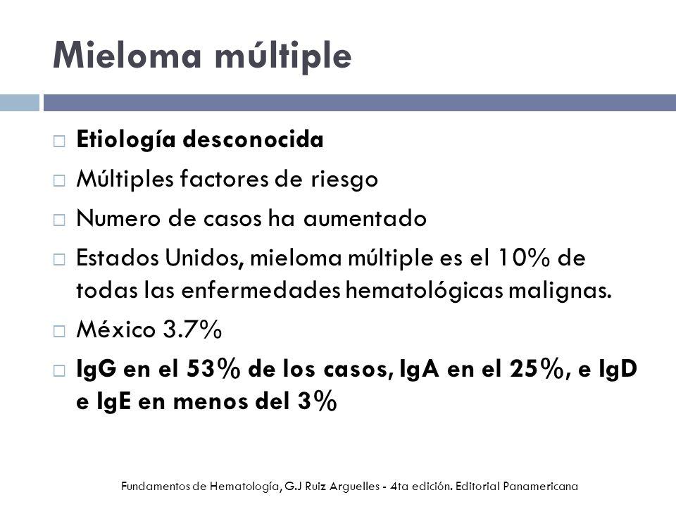 Mieloma múltiple Etiología desconocida Múltiples factores de riesgo Numero de casos ha aumentado Estados Unidos, mieloma múltiple es el 10% de todas las enfermedades hematológicas malignas.