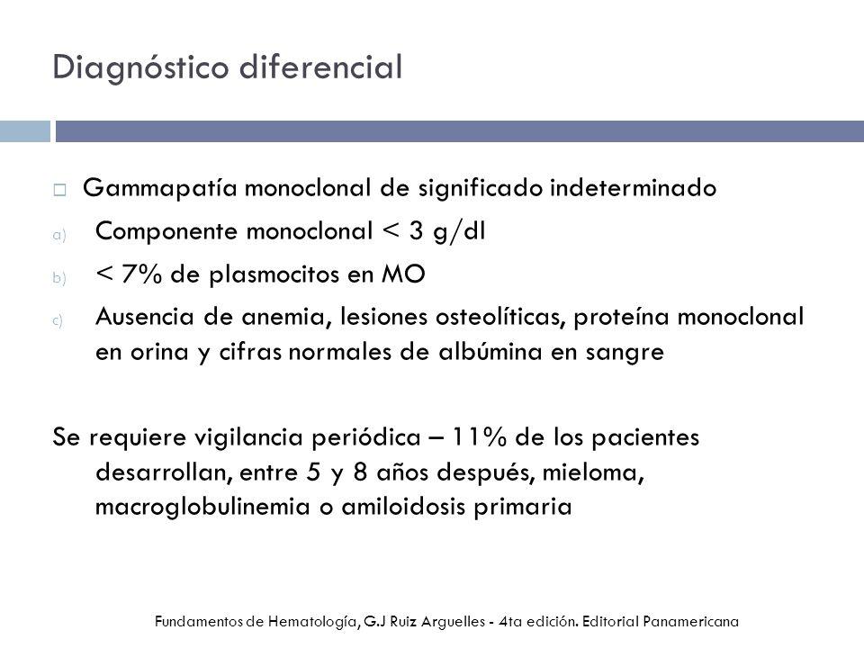 Diagnóstico diferencial Gammapatía monoclonal de significado indeterminado a) Componente monoclonal < 3 g/dl b) < 7% de plasmocitos en MO c) Ausencia de anemia, lesiones osteolíticas, proteína monoclonal en orina y cifras normales de albúmina en sangre Se requiere vigilancia periódica – 11% de los pacientes desarrollan, entre 5 y 8 años después, mieloma, macroglobulinemia o amiloidosis primaria Fundamentos de Hematología, G.J Ruiz Arguelles - 4ta edición.