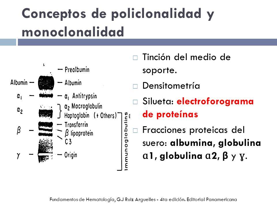 Conceptos de policlonalidad y monoclonalidad Tinción del medio de soporte. Densitometría Silueta: electroforograma de proteínas Fracciones proteicas d