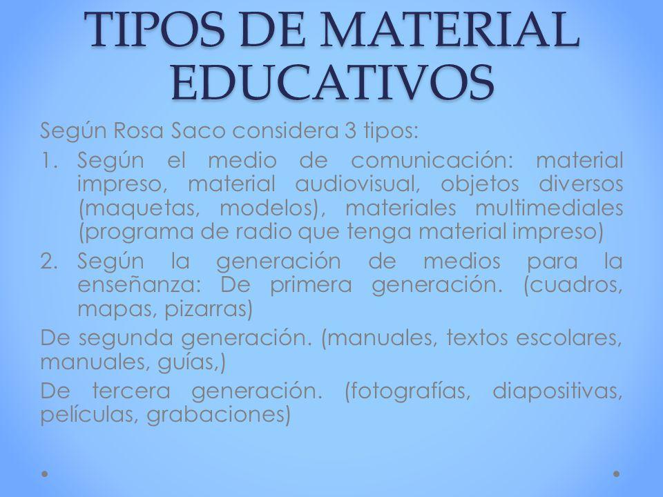 TIPOS DE MATERIAL EDUCATIVOS Según Rosa Saco considera 3 tipos: 1.Según el medio de comunicación: material impreso, material audiovisual, objetos dive