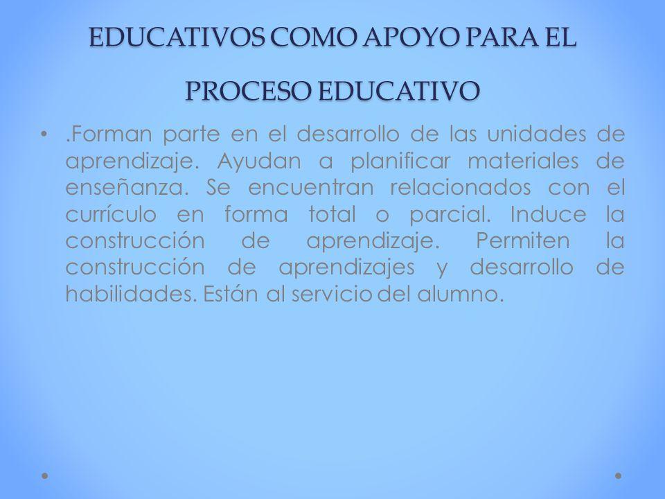 LOS MEDIOS Y LOS MATERIALES EDUCATIVOS COMO APOYO PARA EL PROCESO EDUCATIVO.Forman parte en el desarrollo de las unidades de aprendizaje. Ayudan a pla