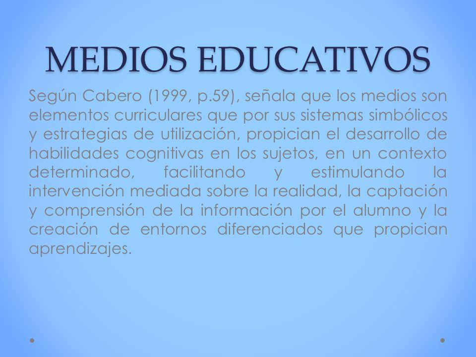 MEDIOS EDUCATIVOS Según Cabero (1999, p.59), señala que los medios son elementos curriculares que por sus sistemas simbólicos y estrategias de utiliza