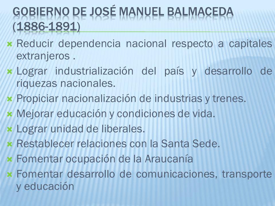 Plan de Obras Públicas: Sistema ferroviario: integró Chile Central con el sur del país (1.200km de vías férreas).