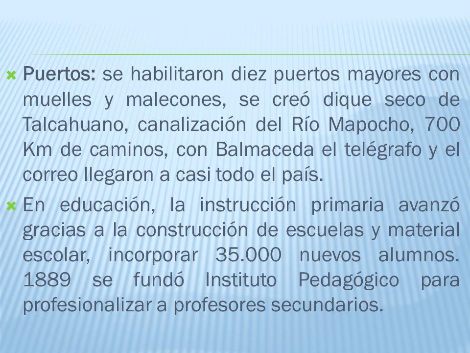 Puertos: se habilitaron diez puertos mayores con muelles y malecones, se creó dique seco de Talcahuano, canalización del Río Mapocho, 700 Km de caminos, con Balmaceda el telégrafo y el correo llegaron a casi todo el país.