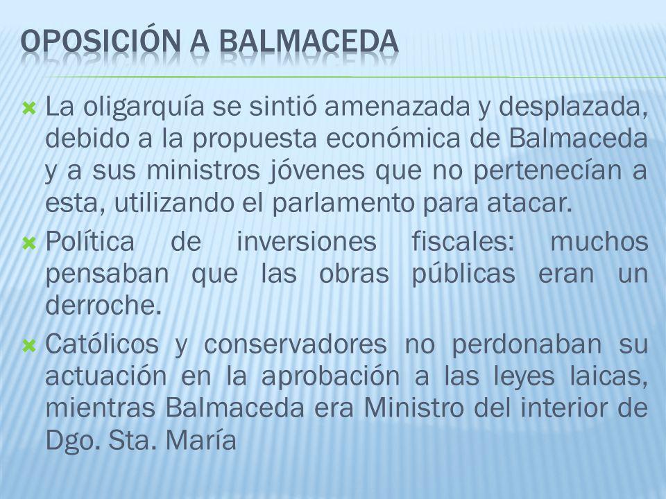 La oligarquía se sintió amenazada y desplazada, debido a la propuesta económica de Balmaceda y a sus ministros jóvenes que no pertenecían a esta, utilizando el parlamento para atacar.