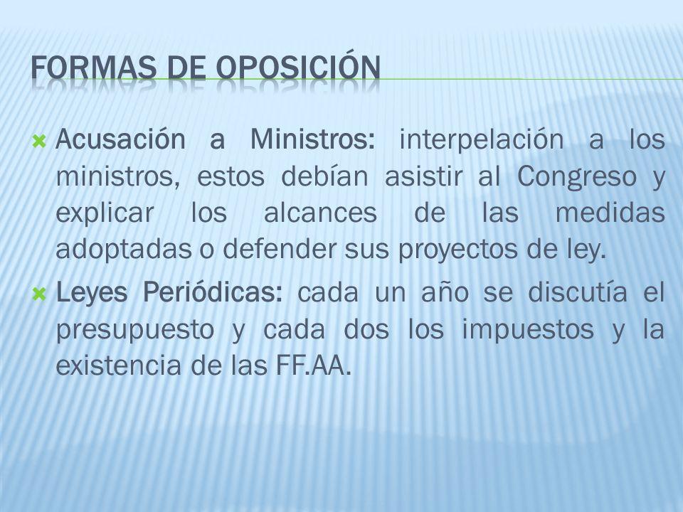Acusación a Ministros: interpelación a los ministros, estos debían asistir al Congreso y explicar los alcances de las medidas adoptadas o defender sus proyectos de ley.