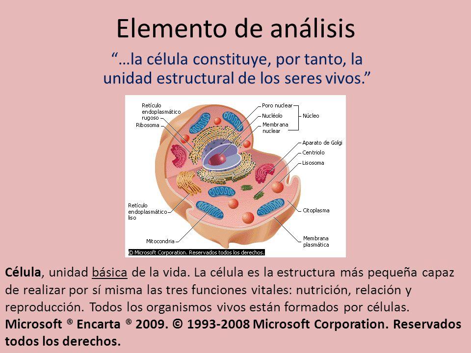 Elemento de análisis …la célula constituye, por tanto, la unidad estructural de los seres vivos. Célula, unidad básica de la vida. La célula es la est
