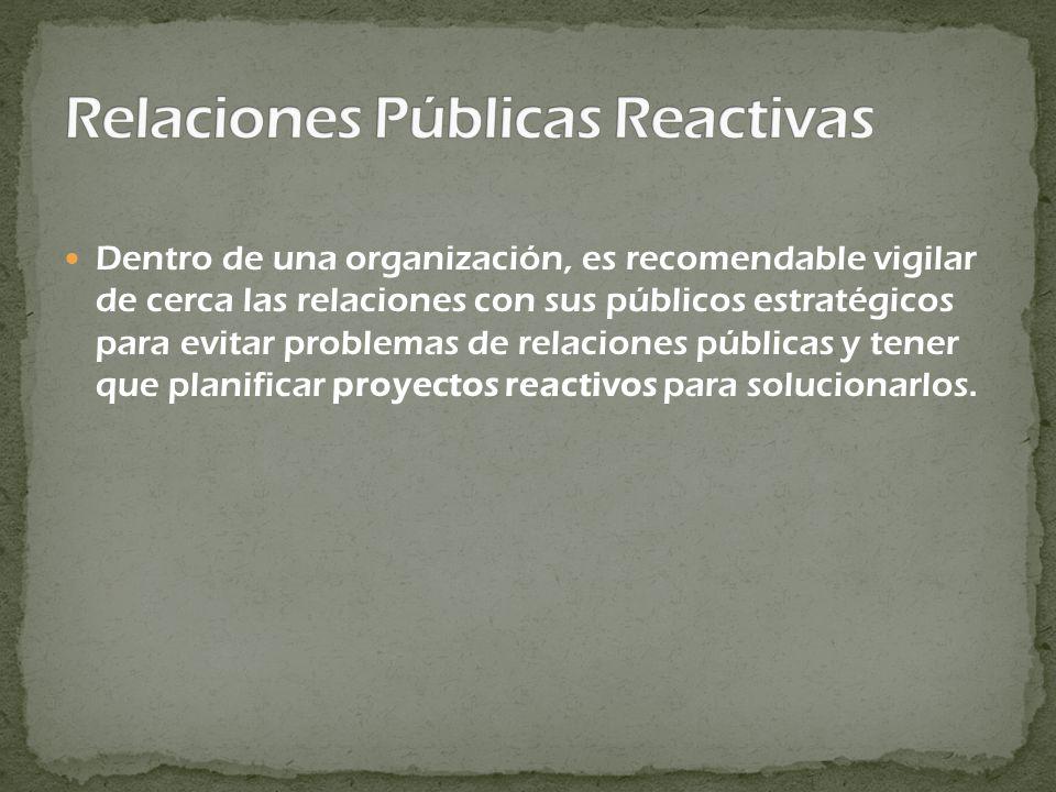 Dentro de una organización, es recomendable vigilar de cerca las relaciones con sus públicos estratégicos para evitar problemas de relaciones públicas y tener que planificar proyectos reactivos para solucionarlos.