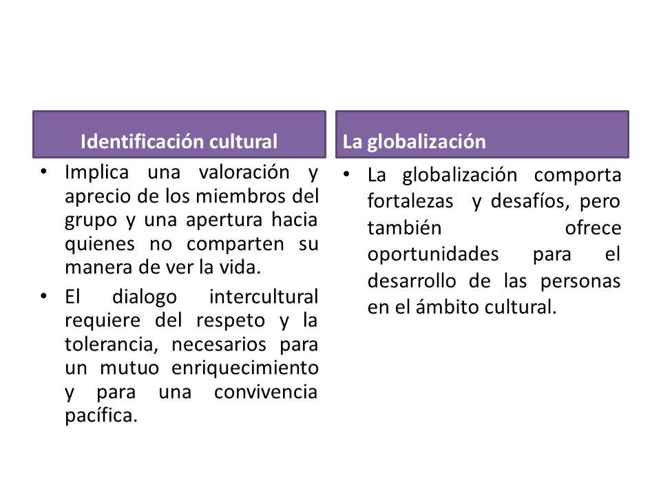 Completa el siguiente organizador visual Globalización Promueve la pérdida de identidad cultural oportunidad