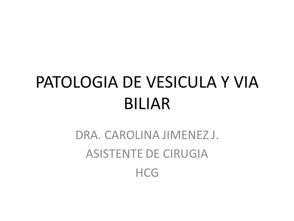PATOLOGIA DE VESICULA Y VIA BILIAR DRA. CAROLINA JIMENEZ J. ASISTENTE DE CIRUGIA HCG