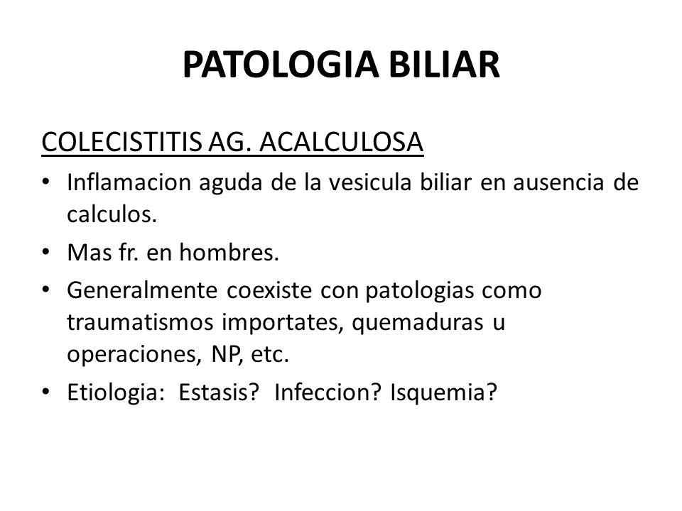 PATOLOGIA BILIAR COLECISTITIS AG. ACALCULOSA Inflamacion aguda de la vesicula biliar en ausencia de calculos. Mas fr. en hombres. Generalmente coexist