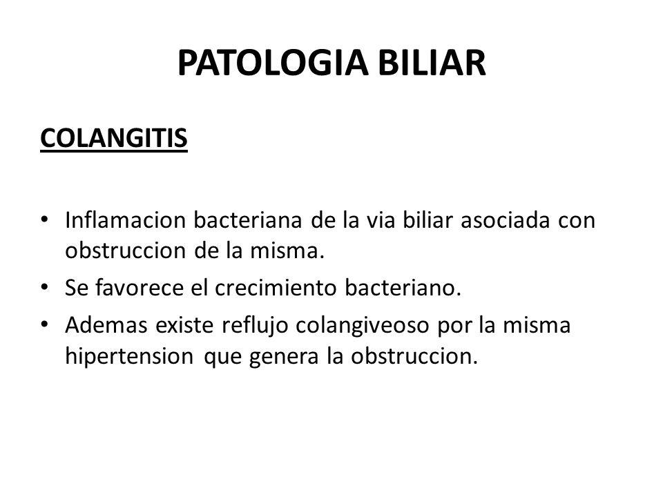 PATOLOGIA BILIAR COLANGITIS Inflamacion bacteriana de la via biliar asociada con obstruccion de la misma. Se favorece el crecimiento bacteriano. Adema