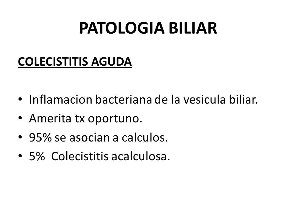 PATOLOGIA BILIAR COLECISTITIS AGUDA Inflamacion bacteriana de la vesicula biliar. Amerita tx oportuno. 95% se asocian a calculos. 5% Colecistitis acal