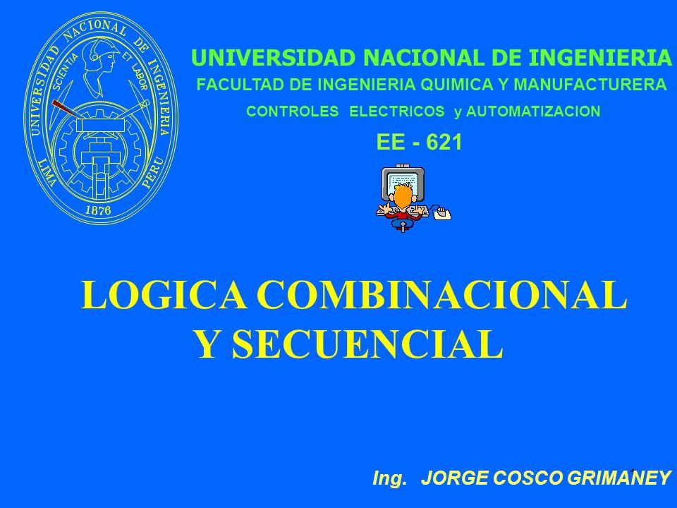 1 UNIVERSIDAD NACIONAL DE INGENIERIA LOGICA COMBINACIONAL Y SECUENCIAL FACULTAD DE INGENIERIA QUIMICA Y MANUFACTURERA Ing.