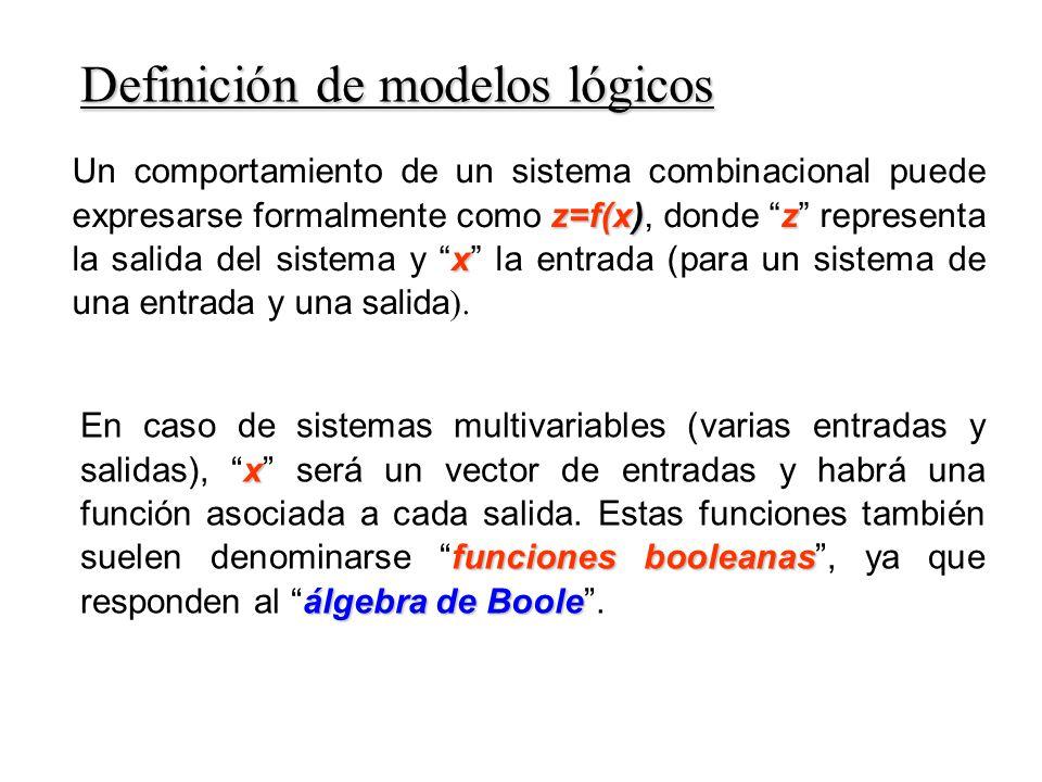 x funciones booleanas álgebra de Boole En caso de sistemas multivariables (varias entradas y salidas), x será un vector de entradas y habrá una función asociada a cada salida.