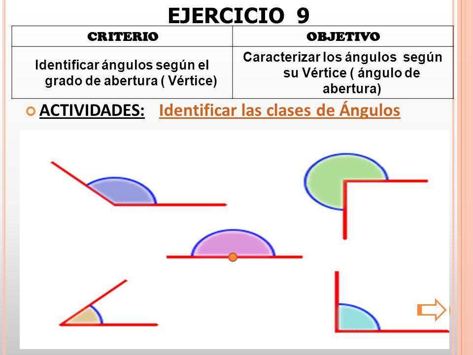 CRITERIOOBJETIVO Identificar ángulos según el grado de abertura ( Vértice) Caracterizar los ángulos según su Vértice ( ángulo de abertura) ACTIVIDADES