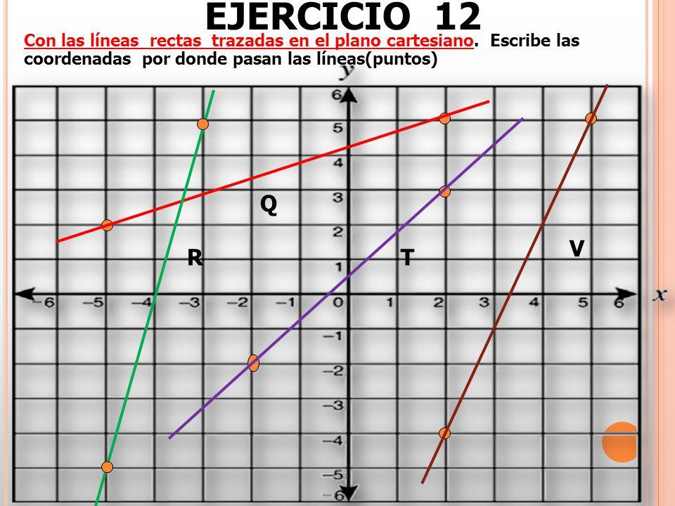 EJERCICIO 12 Con las líneas rectas trazadas en el plano cartesiano. Escribe las coordenadas por donde pasan las líneas(puntos) T Q R V