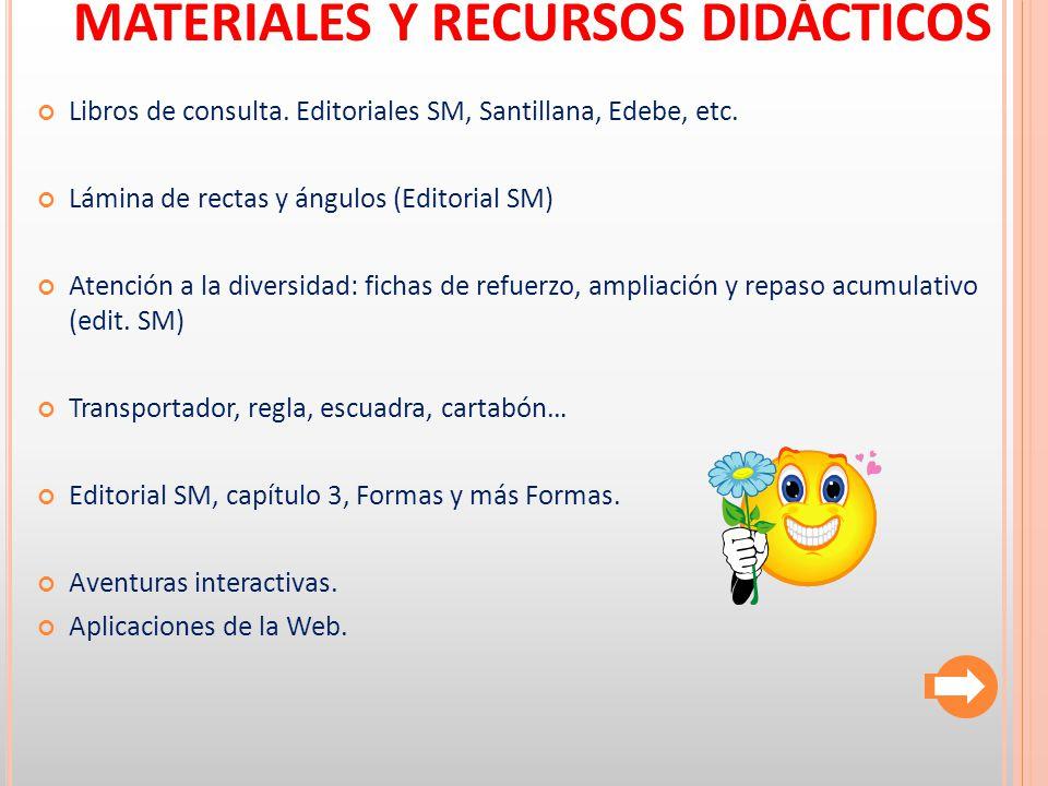 MATERIALES Y RECURSOS DIDÁCTICOS Libros de consulta. Editoriales SM, Santillana, Edebe, etc. Lámina de rectas y ángulos (Editorial SM) Atención a la d