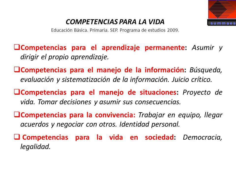 COMPETENCIAS PARA LA VIDA Educación Básica. Primaria. SEP. Programa de estudios 2009. Competencias para el aprendizaje permanente: Asumir y dirigir el