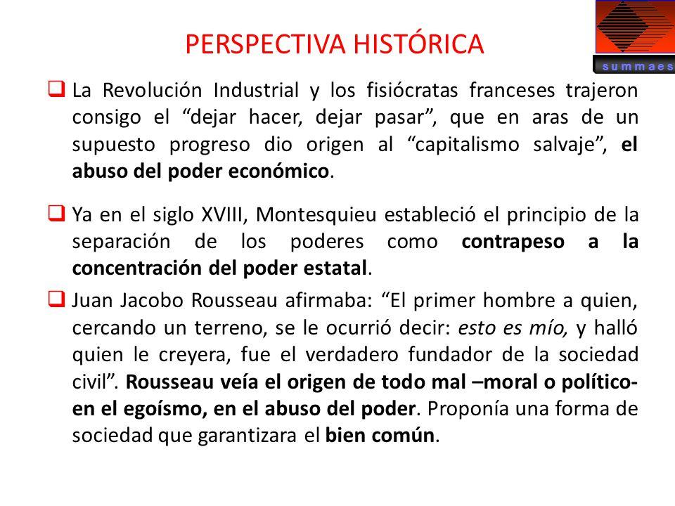 La Revolución Industrial y los fisiócratas franceses trajeron consigo el dejar hacer, dejar pasar, que en aras de un supuesto progreso dio origen al c