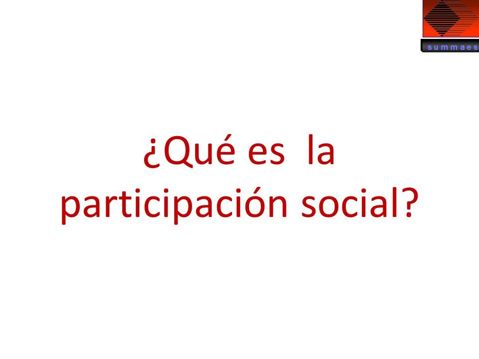 ¿Qué es la participación social?