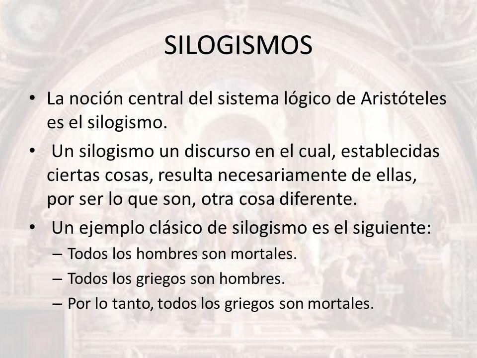 SILOGISMOS La noción central del sistema lógico de Aristóteles es el silogismo. Un silogismo un discurso en el cual, establecidas ciertas cosas, resul