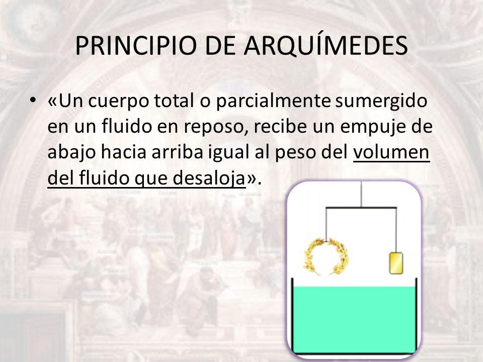PRINCIPIO DE ARQUÍMEDES «Un cuerpo total o parcialmente sumergido en un fluido en reposo, recibe un empuje de abajo hacia arriba igual al peso del vol