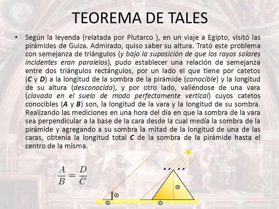 TEOREMA DE TALES Según la leyenda (relatada por Plutarco ), en un viaje a Egipto, visitó las pirámides de Guiza. Admirado, quiso saber su altura. Trat