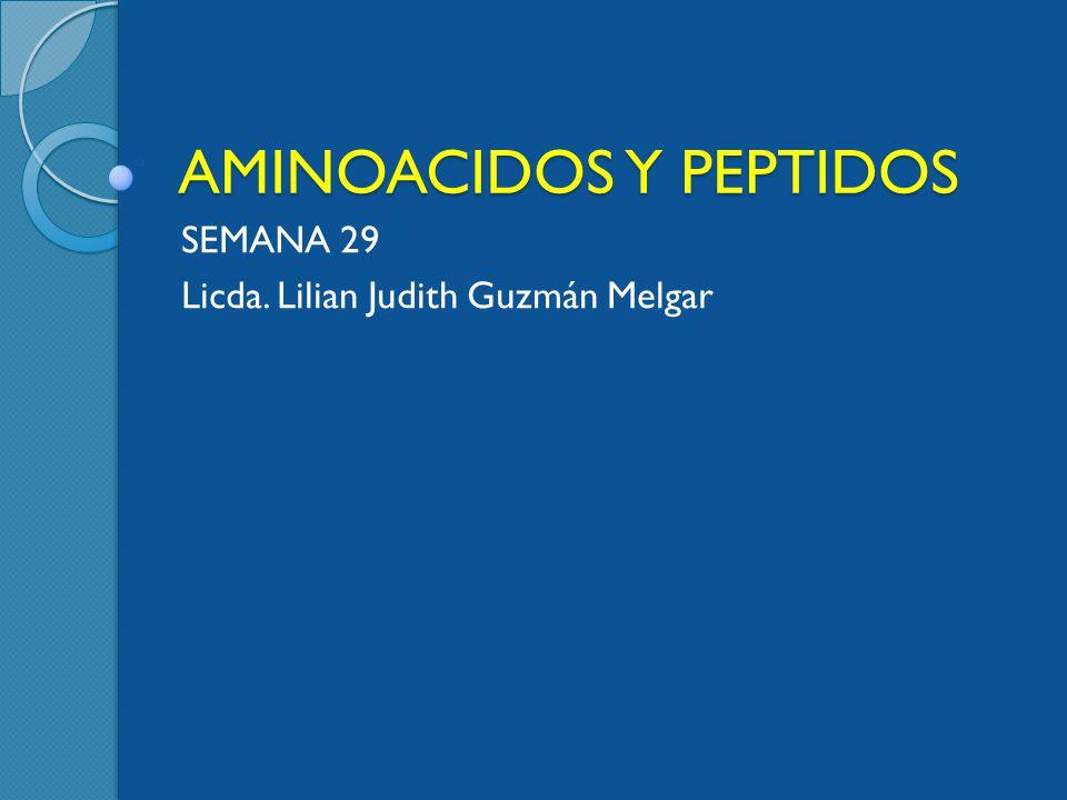 AMINOACIDOS Y PEPTIDOS SEMANA 29 Licda. Lilian Judith Guzmán Melgar