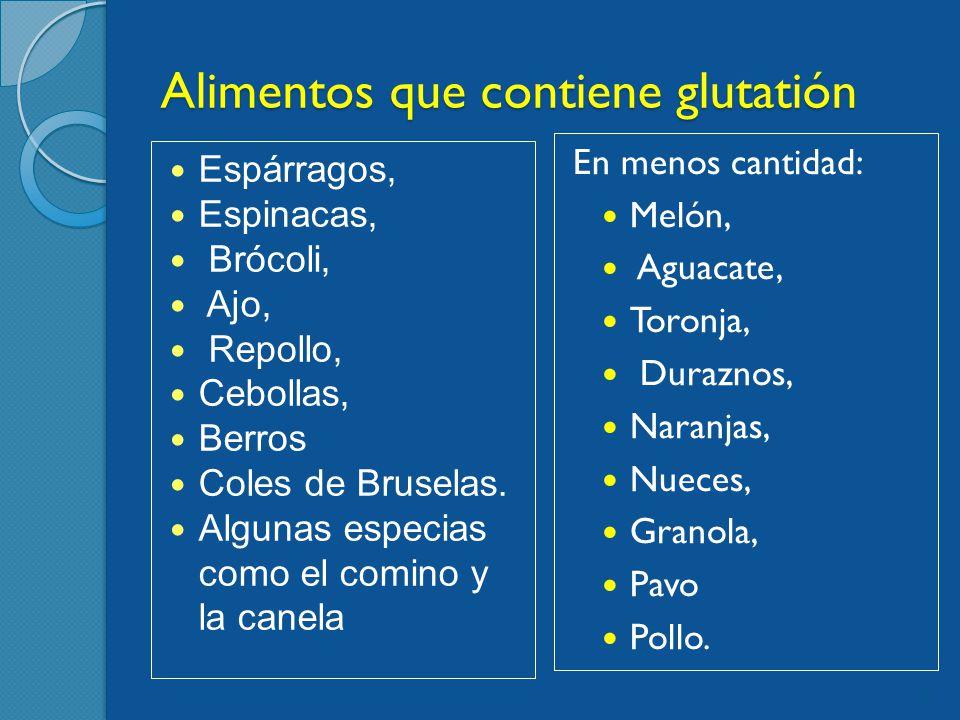 Alimentos que contiene glutatión Espárragos, Espinacas, Brócoli, Ajo, Repollo, Cebollas, Berros Coles de Bruselas.