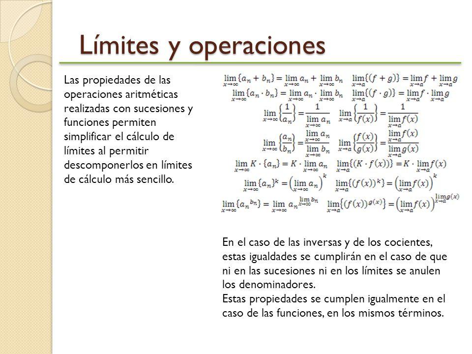 Límites y operaciones Las propiedades de las operaciones aritméticas realizadas con sucesiones y funciones permiten simplificar el cálculo de límites