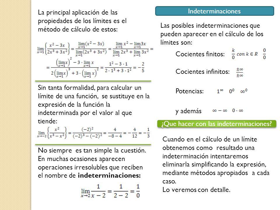 La principal aplicación de las propiedades de los límites es el método de cálculo de estos: Sin tanta formalidad, para calcular un límite de una funci