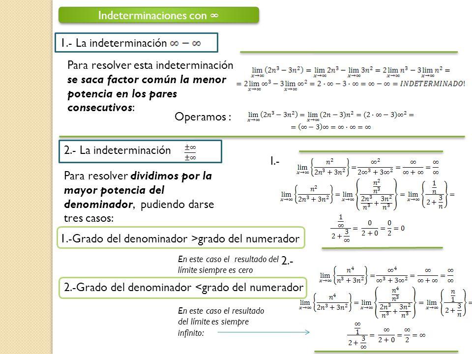 Indeterminaciones con 1.- La indeterminación Para resolver esta indeterminación se saca factor común la menor potencia en los pares consecutivos: Oper