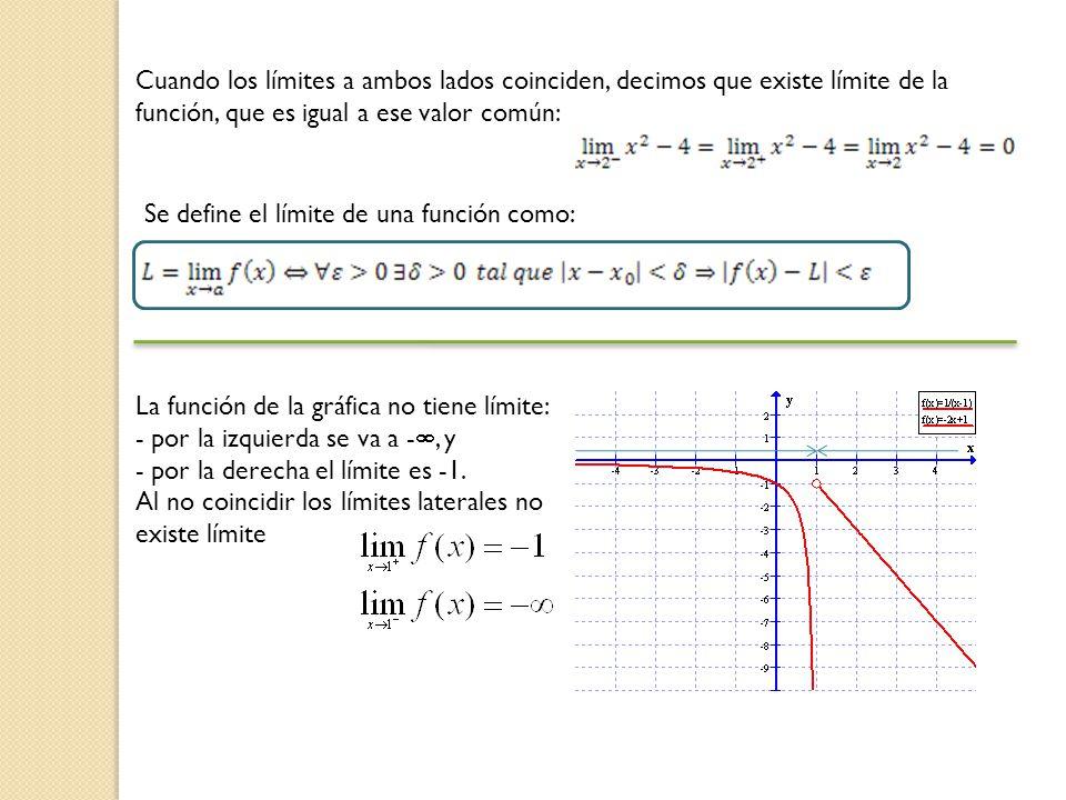 Cuando los límites a ambos lados coinciden, decimos que existe límite de la función, que es igual a ese valor común: Se define el límite de una funció