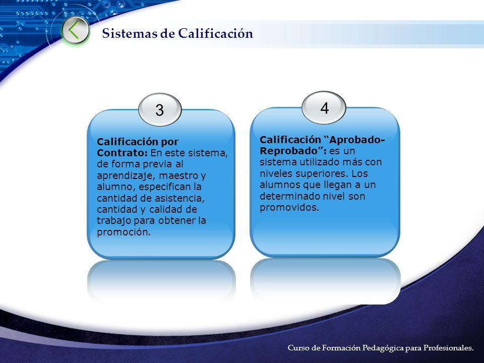 LOGO Sistemas de Calificación Curso de Formación Pedagógica para Profesionales.