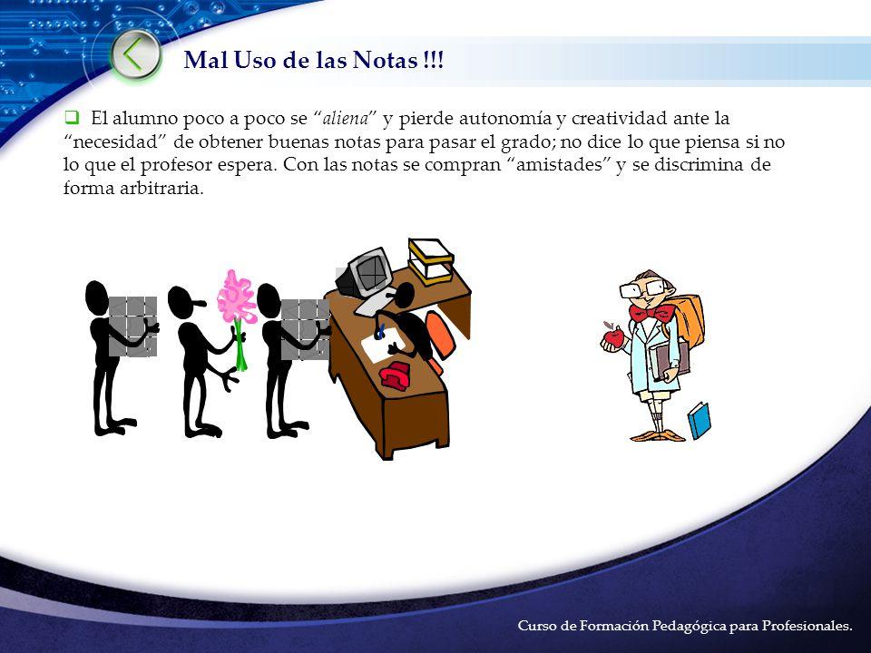 LOGO Ventajas y Desventajas de las Notas. Curso de Formación Pedagógica para Profesionales.