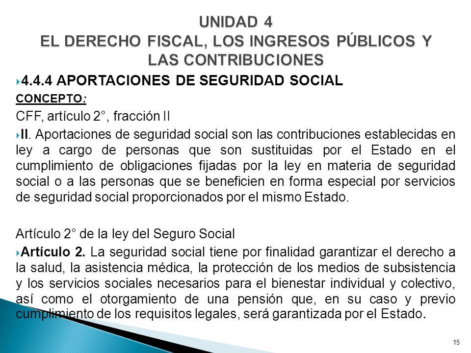 4.4.4 APORTACIONES DE SEGURIDAD SOCIAL CONCEPTO: CFF, artículo 2°, fracción II II.