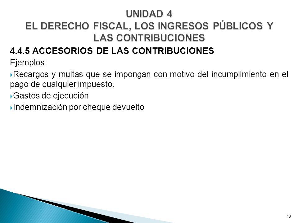 4.4.5 ACCESORIOS DE LAS CONTRIBUCIONES Ejemplos: Recargos y multas que se impongan con motivo del incumplimiento en el pago de cualquier impuesto.