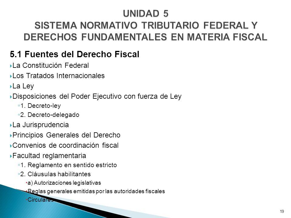 5.1 Fuentes del Derecho Fiscal La Constitución Federal Los Tratados Internacionales La Ley Disposiciones del Poder Ejecutivo con fuerza de Ley 1.