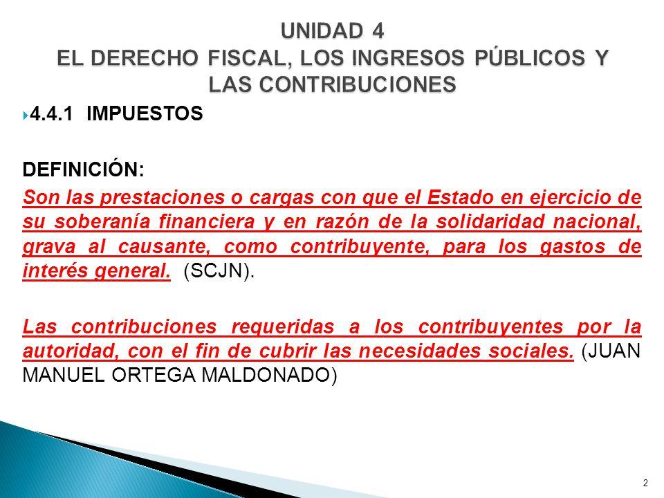 4.4.1 CARACTERÍSTICAS DE LOS IMPUESTOS A.