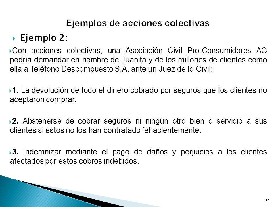 Ejemplo 2: Con acciones colectivas, una Asociación Civil Pro-Consumidores AC podría demandar en nombre de Juanita y de los millones de clientes como ella a Teléfono Descompuesto S.A.