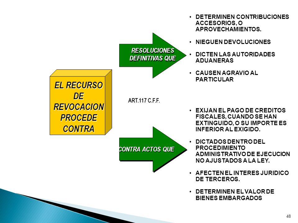 EL RECURSO DE REVOCACION PROCEDE CONTRA RESOLUCIONES DEFINITIVAS QUE DETERMINEN CONTRIBUCIONES ACCESORIOS, O APROVECHAMIENTOS.DETERMINEN CONTRIBUCIONES ACCESORIOS, O APROVECHAMIENTOS.