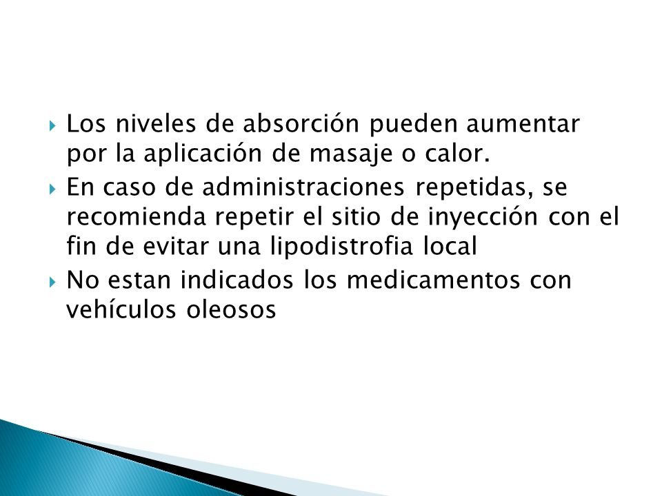 Los niveles de absorción pueden aumentar por la aplicación de masaje o calor. En caso de administraciones repetidas, se recomienda repetir el sitio de